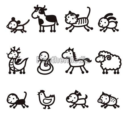 dodici icona cinese degli animali dello
