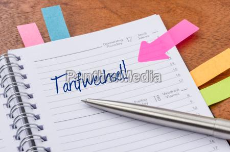 calendario con adesivo cambio tariffario