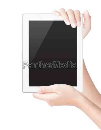 hand hold tablet digital isolated white