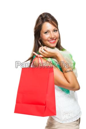 donna ritratto negozio comperare sacchetto vendita