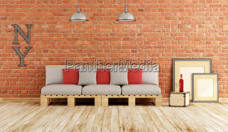 living room with pallet sofa
