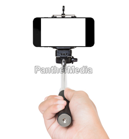 hand using selfie stick isolated white
