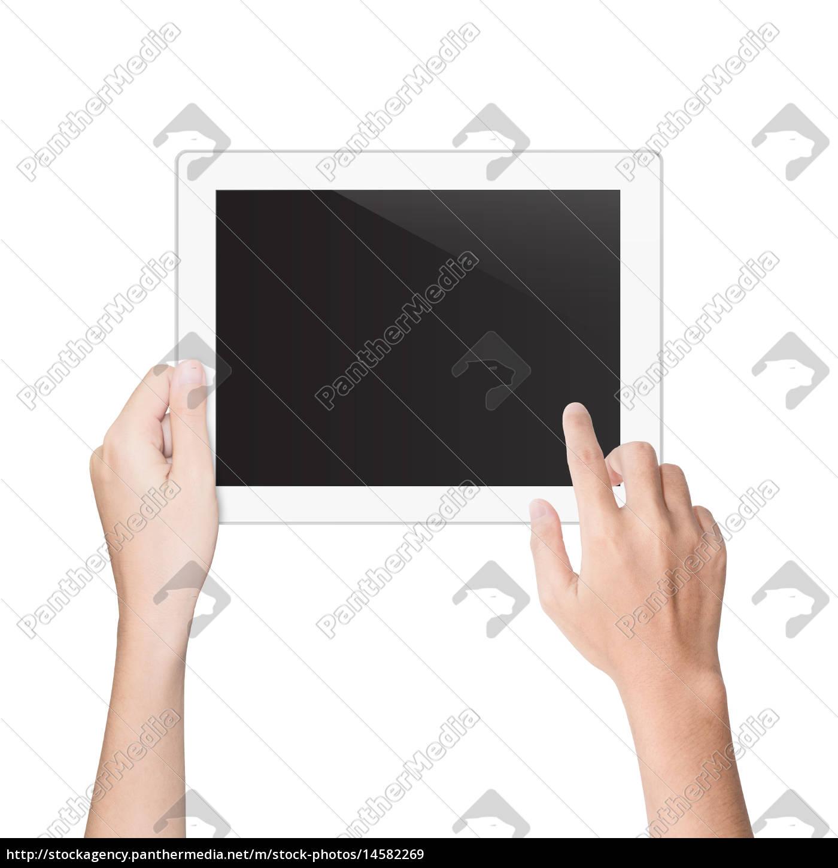 mano, utilizzando, tablet, isolato, percorso, di - 14582269