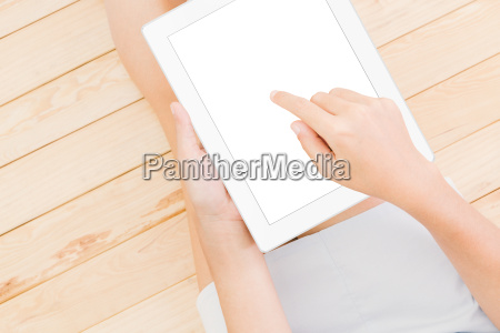 women using tablet white screen