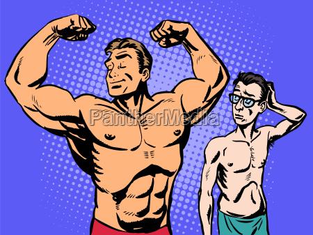 bodybuilder e sottile uomo sport fitness
