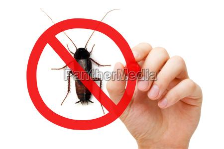 segno di proibizione scarafaggio