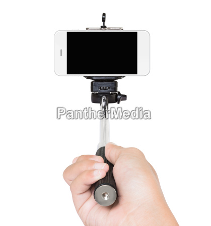 mano, tenendo, selfie, bastone, isolato, bianco - 14697907
