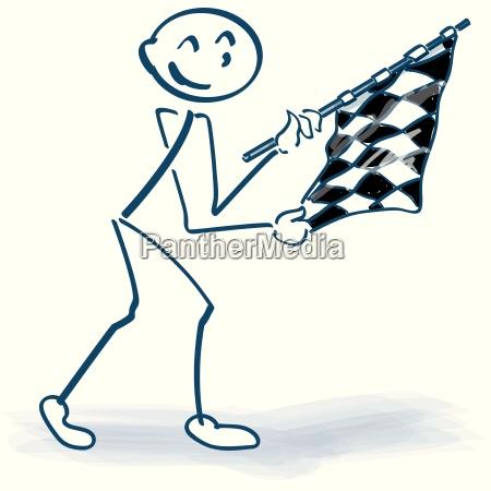 stick figure con bandiera a scacchi