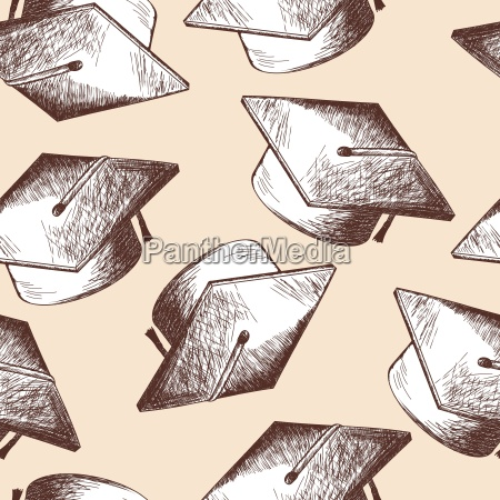 graduation cap seamless pattern