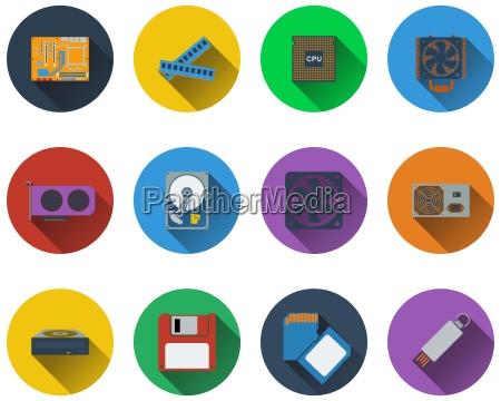 set di icone hardware del computer