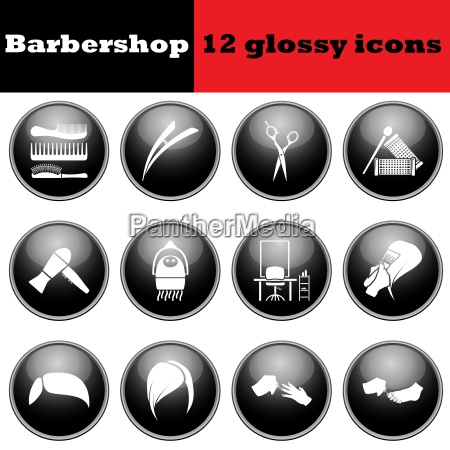 set of barbershop glossy icons