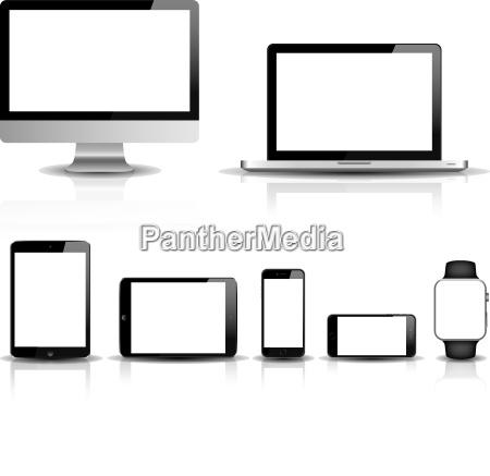 responsive web design vettoriale set