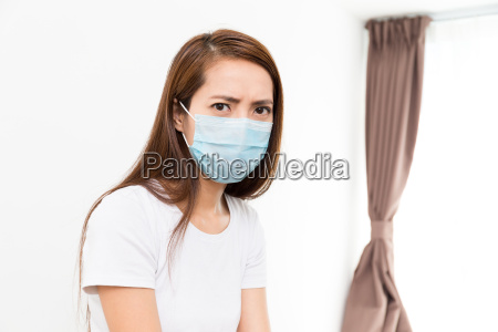 asian woman wear with protective face
