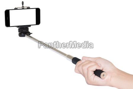 hand holding phone selfie stick isolated