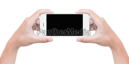 hand hold phone isolated on white