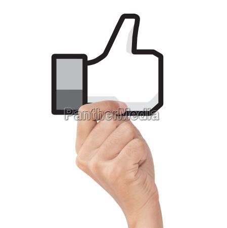 hand holding like icon on white