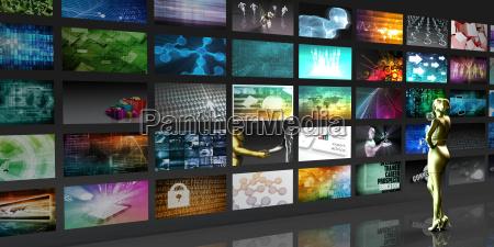 donna schermi presentazione oggetto divertimento progettazione