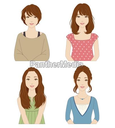le donne con diverse acconciature