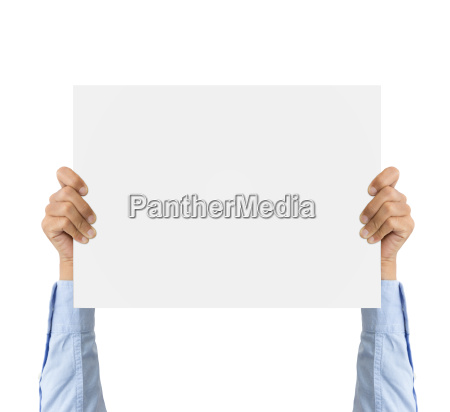 business hand holding bank board isolated