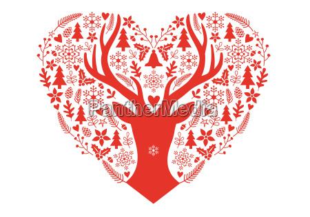 cartolina di natale con cuore rosso