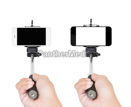 hand holding selfie stick isolated white