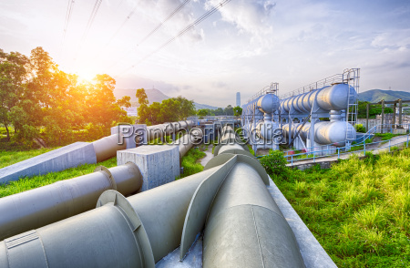 glow light of petrochemical industry water