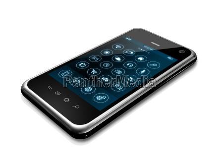 smartphone con interfaccia delle icone delle