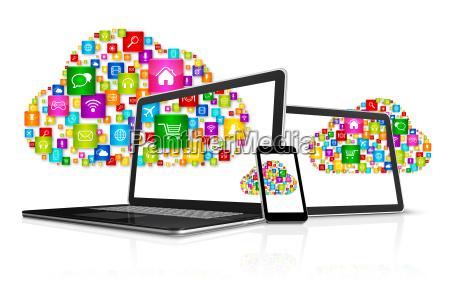 portatile computer telefono cellulare elettronica nuvola