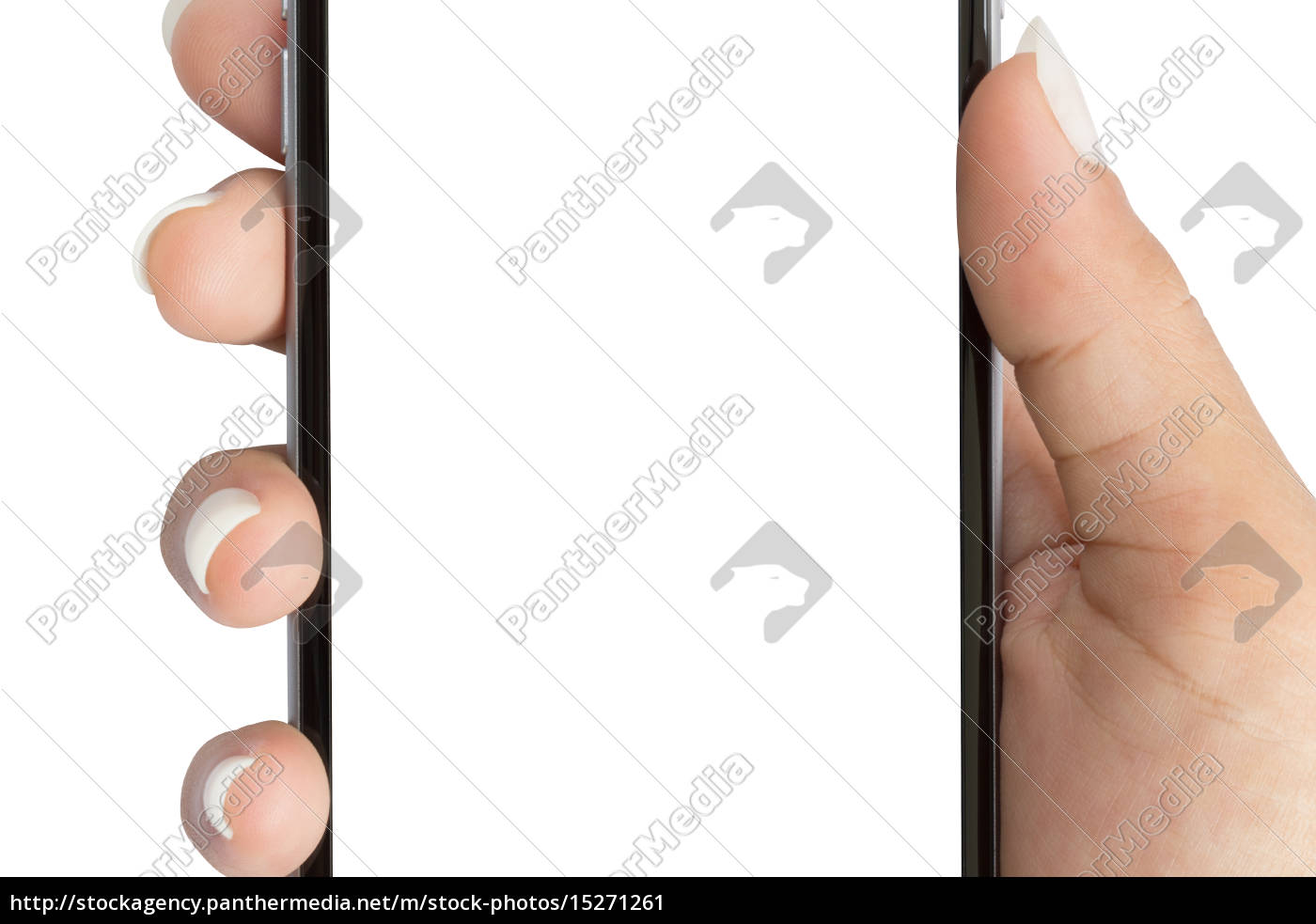close, up, hand, holding, phone, white - 15271261