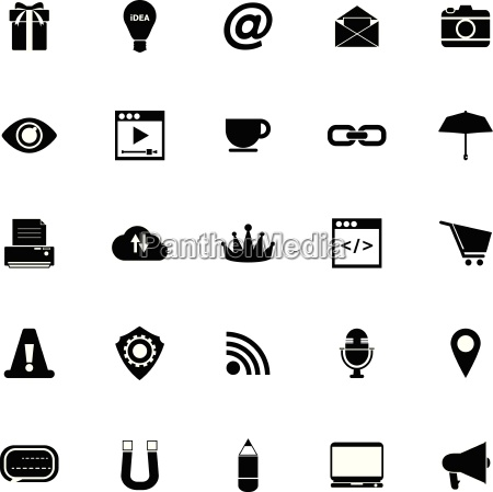 internet website icons on white background
