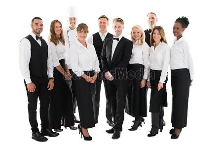 ristorante cameriera albergo cameriere chef gruppo