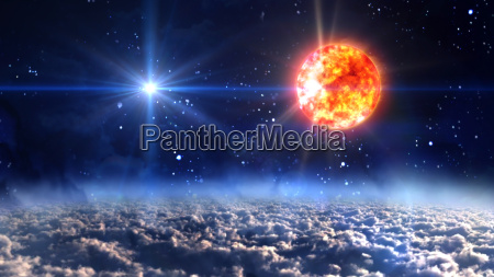 sun with blue planet star cross