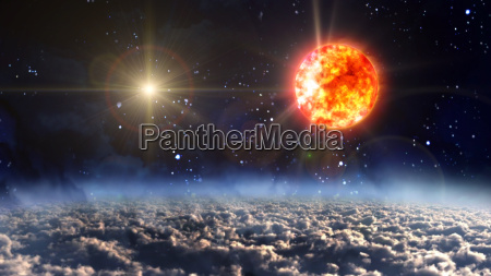 sun with yellow planet star cross