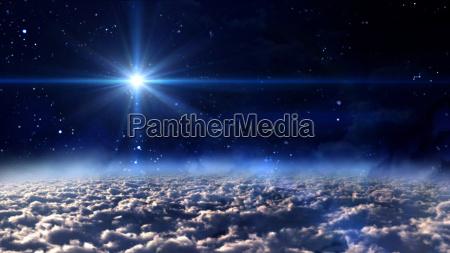 space blue glow star cross