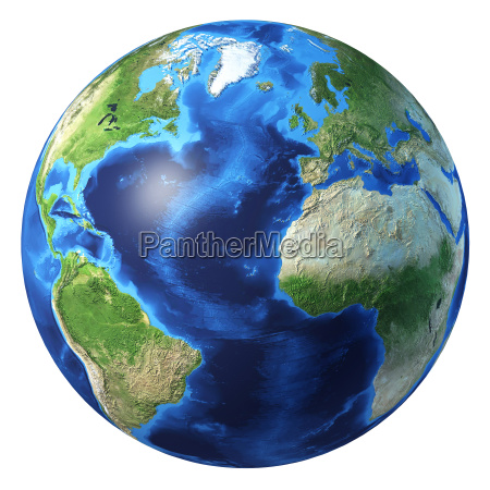 earth globe realistic 3 d rendering