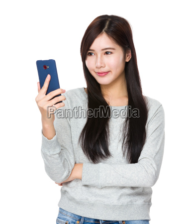 young woman use of the mobile