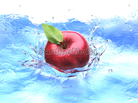 red apple with leaf splashing into