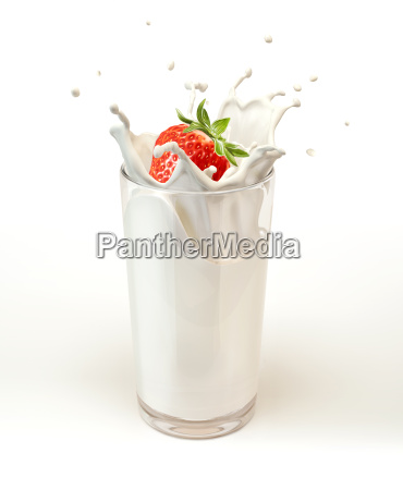 strawberry falling into a glass of