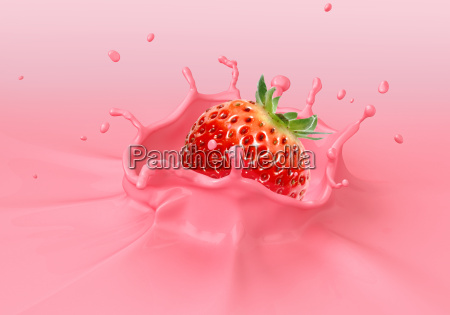 strawberry falling into pink creamy liquid