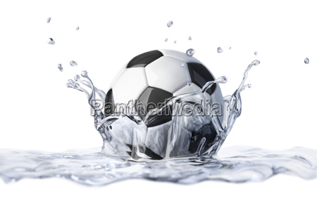 soccer ball falling into clear water