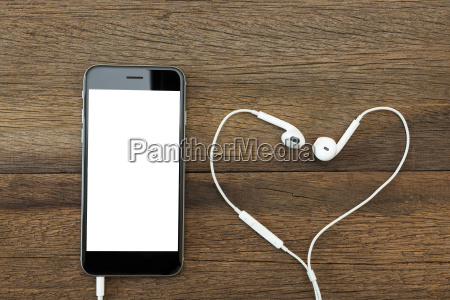 phone white screen with headphone on