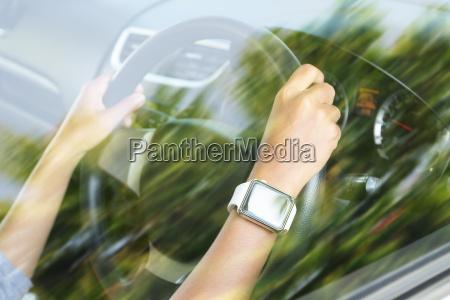 closeup hand wear smart hand watch