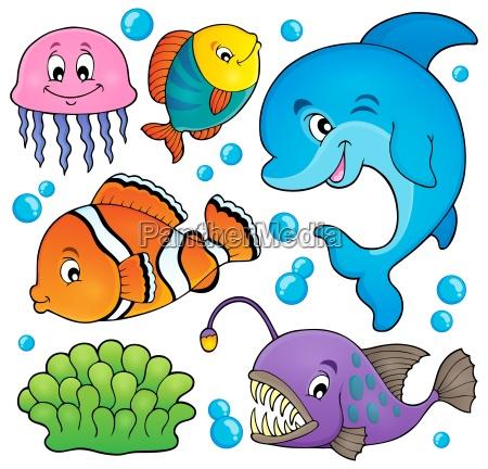 argomento della fauna oceanica impostato 1