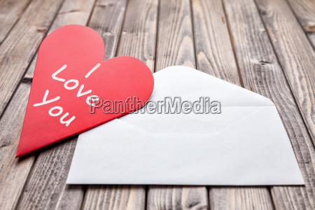 love letter on a wooden background