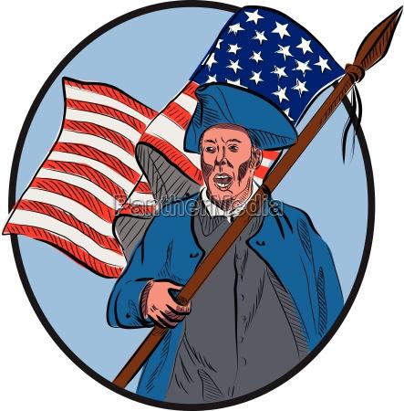 american patriot carrying usa flag circle