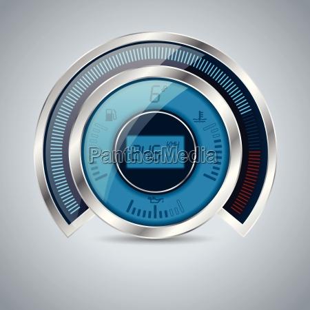 all digital shiny metallic speedometer rev