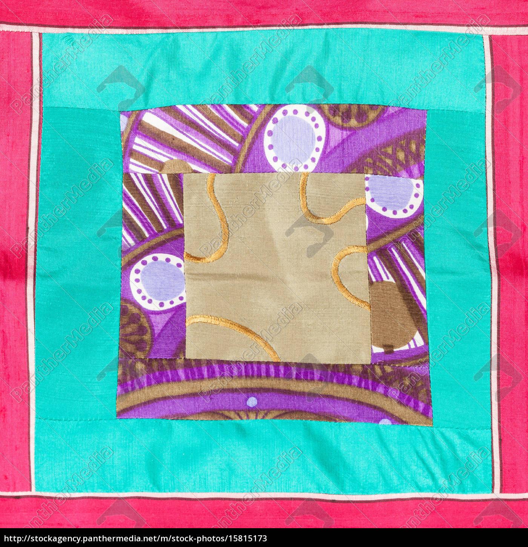 applique, quadrata, di, stoffa, patchwork - 15815173