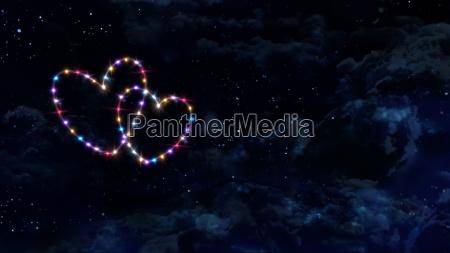 hearts star night sky