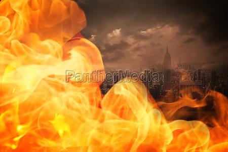 citta caldo calore nuvoloso fuoco incendio
