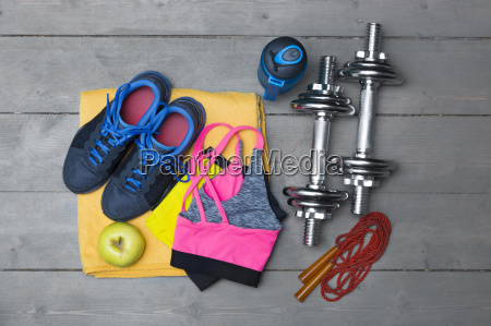 top view of colorful fitness equipment